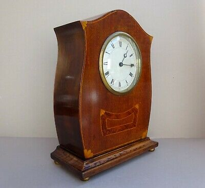 Antique Edwardian Inlaid Wood Mantle Clock Mechanical Swiss Made - Working