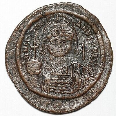 527-565 Ad Justinian I Byzantine Constantinople Copper Follis Coin