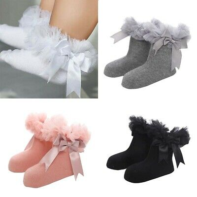 Ruffle Lace Infant Frilly Baby Socks Girls Trim Kids Ankle Sock Princess Bowknot
