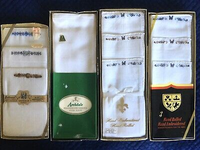"LOT Vintage Men's Handkerchiefs Monogrammed ""W"" NOS Cotton Linen Hand Rolled"