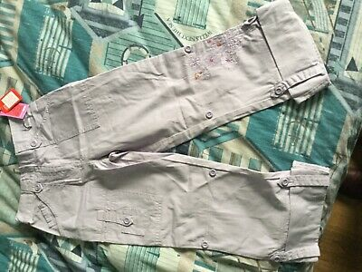 Girls Age 10 Lilac Cotton Marks And Spencer Trousers Floral Detail