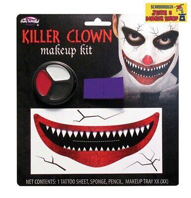 Monster Mouth Evil Clown Makeup Kit ~ Halloween Accessory Unisex ~ IT