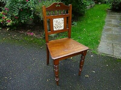 Pretty 19thC Antique Mahogany Tile Back Hall Chair *Free 4m del