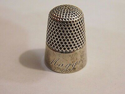 """Vintage Antique  Sterling ? Silver Thimble  - Engraved """"Maggie"""""""