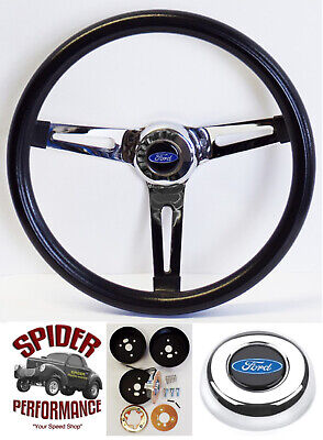 """78-91 Bronco Ford pickup steering wheel BLUE OVAL 13 1//2/"""" CLASSIC CHROME"""
