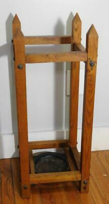 ANTIQUE ARTS & CRAFTS  OAK UMBRELLA CANE  HALL STAND 29.5'' High