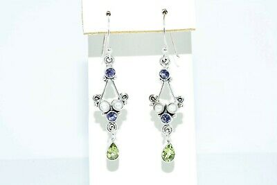 3.10Mm/1.50Ct Natural Multi-Color Mixed Gemstone 5 Stone Dangle Earrings Silver