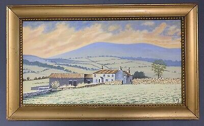 Antique Oil On Canvas Painting Of The Yorkshire Moors In Gold Gilt Frame, Signed