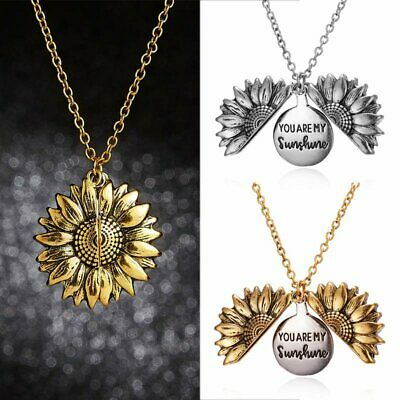 Fashion You Are My Sunshine Open Sunflower Pendant Necklace Chain Jewelry Gifts