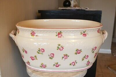 Antique Victorian Minton China Foot Bath / Jardiniere - Hand Painted Roses 1873
