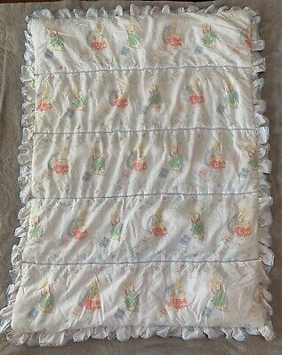 Vintage Quiltex Beatrix Potter Peter Rabbit and friends baby crib quilt
