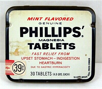 Old Phillips Tablets Medicine Tin Sterling Drug Inc New York Unsold Store Stock