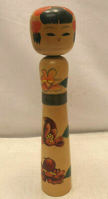 Vintage Kokeshi Creative Style Wooden Japanese Doll Handpainted Flowers #578