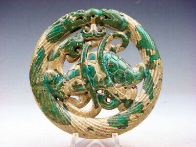 Old Nephrite Jade Stone Carved LARGE Pendant 2 Dragons & Dragon Turtle #05281906