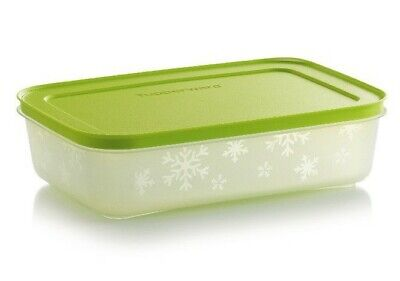 Tupperware New Design Freezer Mates Plus Rectangle Shallow Container Green Seal