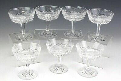 Set 7 Signed Waterford Deep Cut Crystal Lismore Pattern Champagne Glasses NR PFP