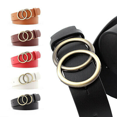 Fashion Adjustable Skinny Belt Circle Buckles Waist Belts Dress Waistband