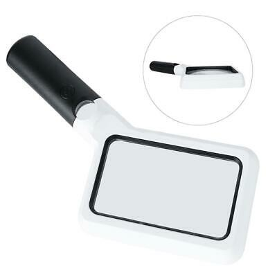 LED Light Source Rectangular Handheld Magnifier Reading Magnifying Glass old man
