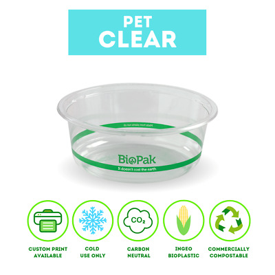 Biopak Clear Bowls 600 & 700ml Clear Wide BioBowl