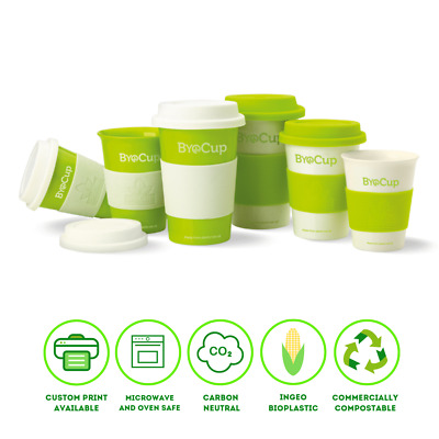 Biopak Reusable Coffee Cups 8,12,16oz Green&White ByoCup