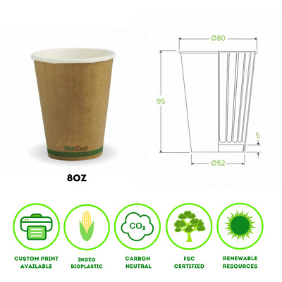 Double Wall Kraft Green Stripe Cups BioPak Coffee Cup 8, 12, 16oz
