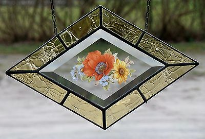 Leaded Glass Window Image Stained / FACET with Real Antique in Tiffany