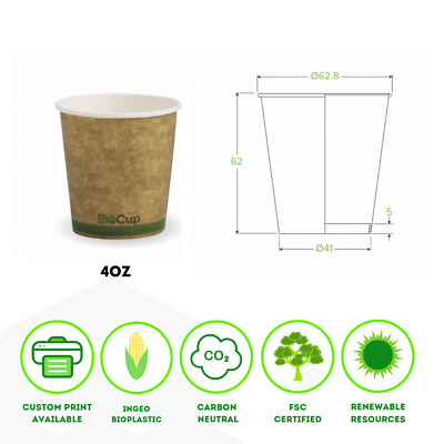 Single Wall Kraft Green Stripe Cups BioPak Coffee Cup 4, 6, 8, 12, 16oz