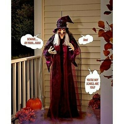 Halloween Props Talking Witch Decorations Life Size Animated Scary Standing Yard