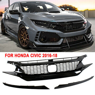 For 16-18 Honda Civic 10th Gen JDM CTR Style Glossy Black Front Hood Mesh Grille