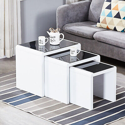 Nest Of 3 Coffee Table End Table with Glass Top Stackable Living Room Furniture