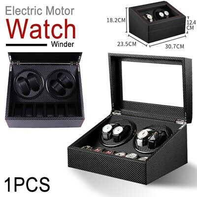 4+6 Automatic Rotation Watch Winder Leather Wood Storage Case Display Box Black
