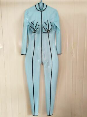 Latex Rubber Gummi Catsuit Ganzanzug Sexy Light blue Overall Bodysuit S-XXL