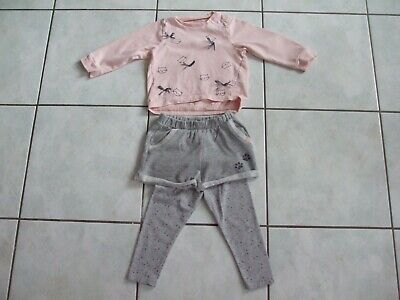 Adorable Ensemble Short Gris + Pull Imprime Rose + Leggins Vertbaudet 2 Ans Tbe
