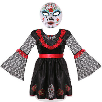 Adult DAY OF THE DEAD DARLING Ladies Halloween Sugar Skull Costume Size 6-28