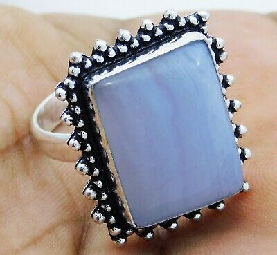 Blue Lace Agate stone 925 sterling silver plated Handmade Ring US - 9