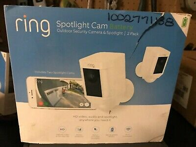 Ring Spotlight Cam  Battery White Security Camera 2-Pack NEW