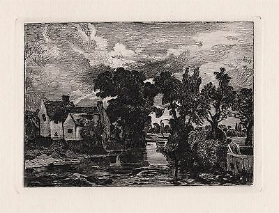 "Amazing 1800s John CONSTABLE Etching ""The Mill Stream, Willy Lott's Cottage"" COA"