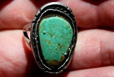 Old Pawn Navajo Sterling Silver & Turquoise Stone In Matrix Ring