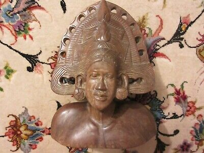 Vintage Bali Balinese Hand Carved Indigenous Tribal Bust Wood Wooden