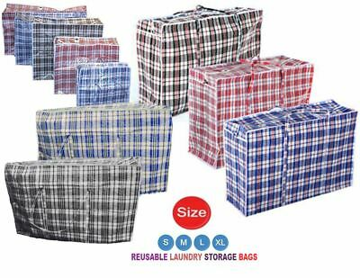 New Jumbo Laundry Bags Zipped Reusable Large Strong Shopping  Storage Bag UK