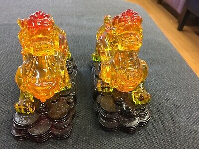 Chinese Feng Shui Bronze Wealth Copper Money Yuanbao PiXiu kylin Pair Statue
