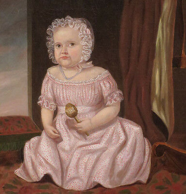 """perfect 30x30 oil painting """"Small Girl in a Bonnet Holding a Rattle"""" NO5892"""