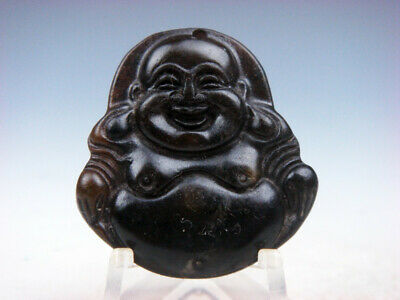 Old Nephrite Jade Hand Carved *Big Belly Laughing Buddha* Pendant #09261919