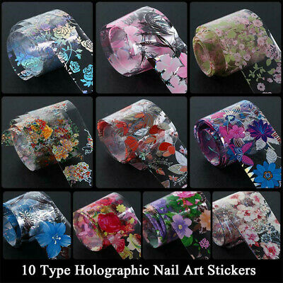 Flower Transfer Manicure Nail Foil Nail Art Stickers Holographic Decals Decor