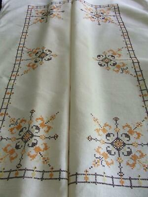Hand Embroidered Large Vintage Linen Tablecloth - Cross Stitch Pattern Lace Edge