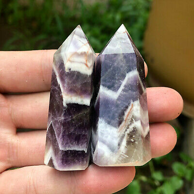 Natural dream amethyst quartz crystal obelisk wand point healing 2pc 40-50g