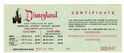 1960 John F Kennedy Democratic Convention Disneyland Ticket