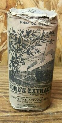 Vintage POND'S EXTRACT Early 1900's Quack Medicine Bottle w Cork Case Booklets