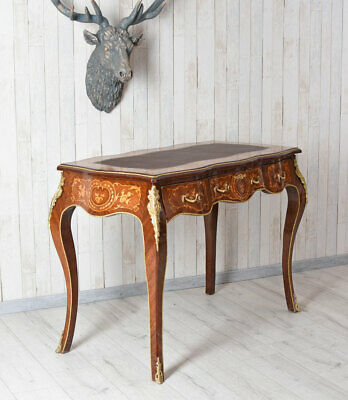 Marquetry Desk Baroque Office Desk Antique Console Table Computer Table Wood