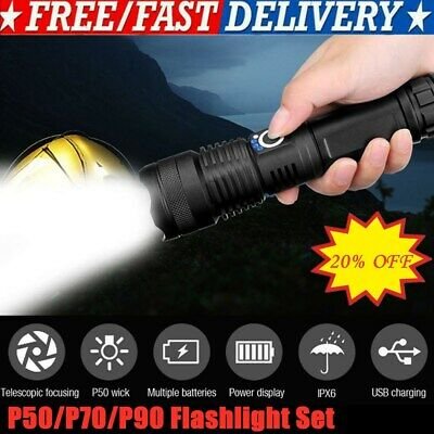 XHP50/XHP70/XHP90 LED Flashlight Rechargeable 5 Modes Zoom Torch 18650/26650 US
